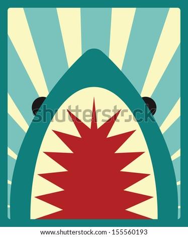 Shark poster, vector illustration - stock vector