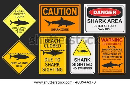 Shark warning signs - stock vector