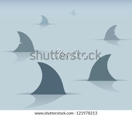 Sharks - vector illustration - stock vector