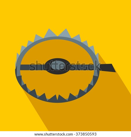 Stock Vector Sharp Metal Trap Flat Icon On A Yellow Background on Funny Mouth Shut Clip Art