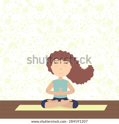 She meditates on yoga. Sitting in the lotus, palms together, eyes closed, hair flying - stock vector