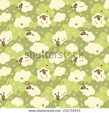 Sheep, clouds, flowers and butterflies - cute cartoon seamless pattern. - stock vector