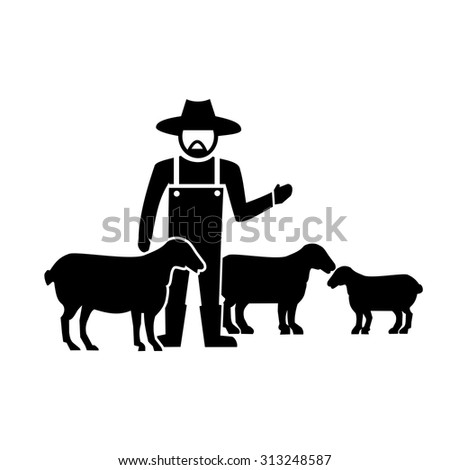 Sheep farm vector - stock vector