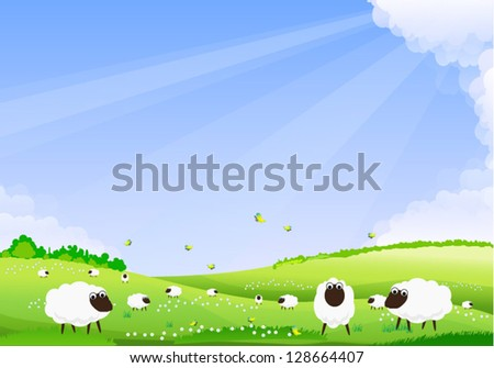 Sheep grazing in a green field. - stock vector
