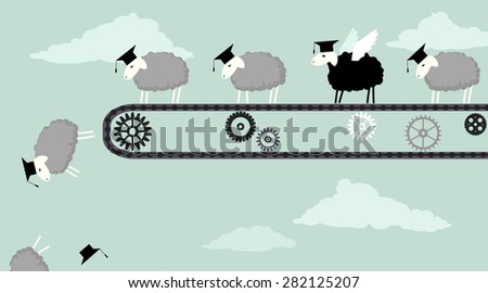 Sheep in academic graduation caps riding a conveyor belt and obediently falling into the abyss, one black sheep with wings ready to fly, vector illustration, EPS 8 - stock vector