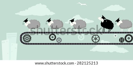 Sheep in academic graduation caps standing on a conveyor belt, obediently moving toward the abyss, one black sheep looking up to the sky, vector illustration, EPS 8 - stock vector