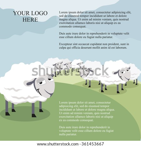 sheep in the pasture. Vector illustration. - stock vector
