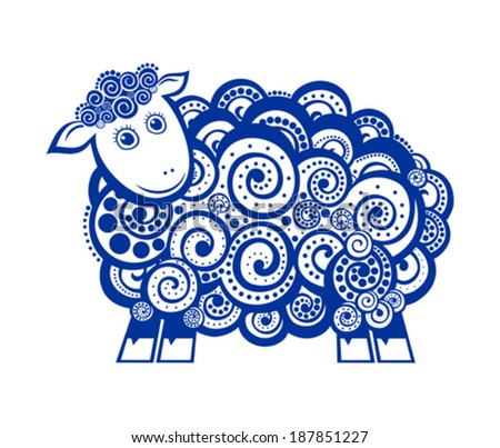 Sheep Lamb. Blue sheep  isolated on white background. Vector Illustration  - stock vector