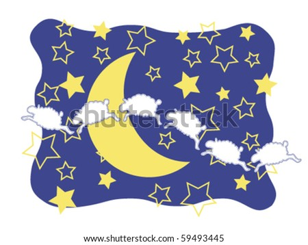 Sheep, Moon, and Stars - stock vector