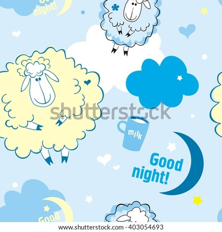 Sheep on clouds, good night!  Cute cartoon childish seamless pattern in vector. - stock vector
