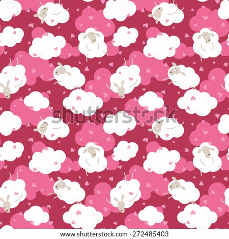 Sheep on clouds with hearts - cute cartoon childish seamless pattern. - stock vector