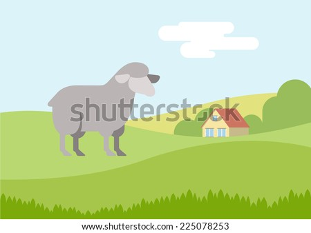 Sheep on farm grass field flat design cartoon vector animals. Flat zoo nature children collection. - stock vector
