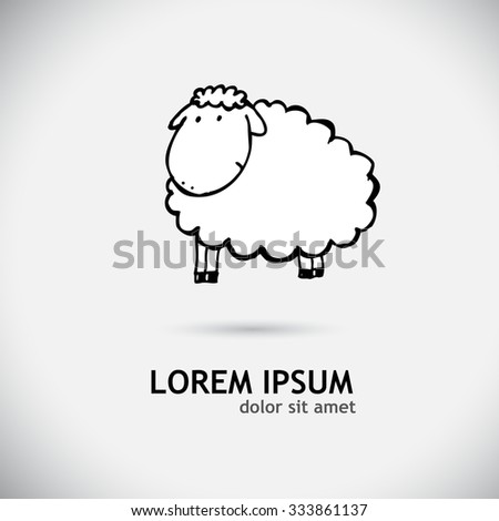Sheep pen drawing. Vector - stock vector