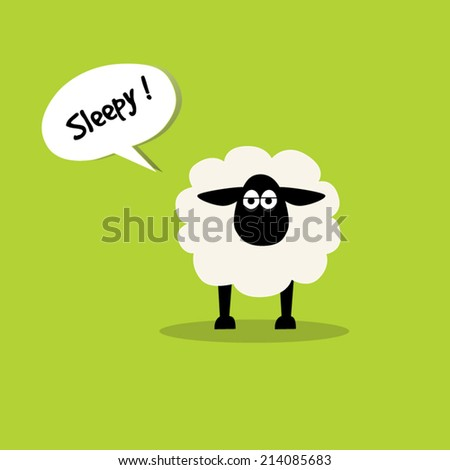 Sheep say sleepy.illustration design. - stock vector