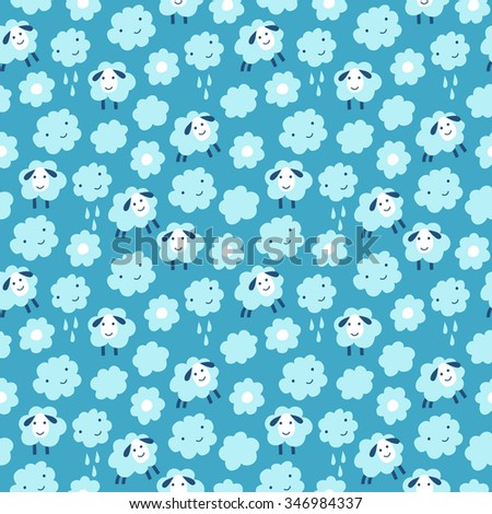 Sheep seamless background. Surface kid decoration with colorful sheep, clouds and flowers.Vector illustration. Cloth design, wallpaper, wrapping. - stock vector
