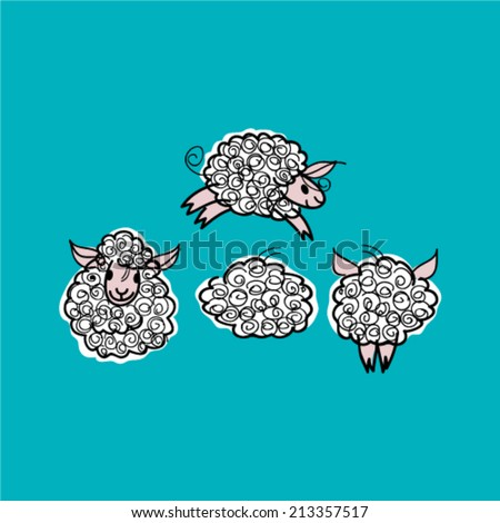 Sheep / Sketch of adorable animals on the sky - stock vector