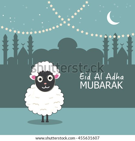 Sheep vector illustration. Islamic festival of sacrifice, eid al adha celebration greeting card vector - stock vector