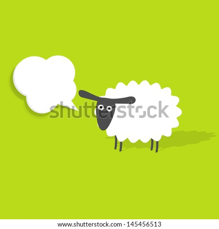 sheep with speech bubble - stock vector