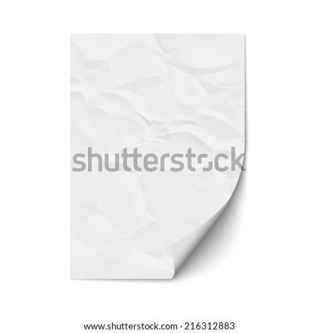 Sheet crumpled paper. Vector EPS10 - stock vector