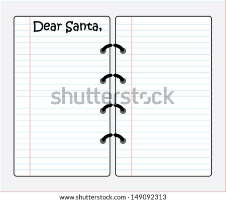 Sheet of lined paper on a ring binder - Dear Santa - EPS10 - stock vector