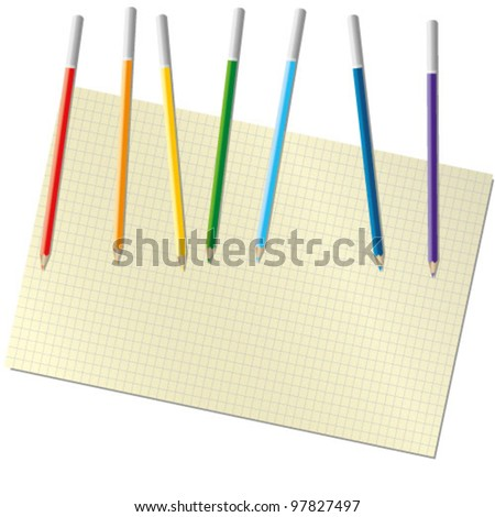 sheet of paper and pencil colors of the rainbow - stock vector