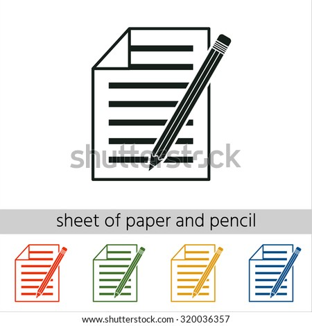Sheet of paper and pencil icon. Set of varicolored icons. - stock vector