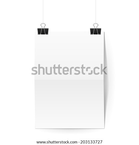 Sheet of paper folded in two hangs on two black binder clips - stock vector