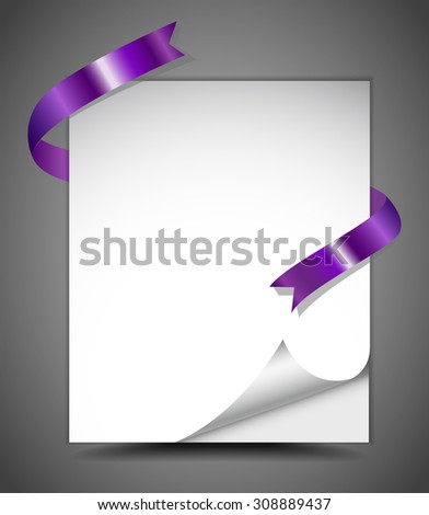 Sheet of paper with purple ribbon - stock vector