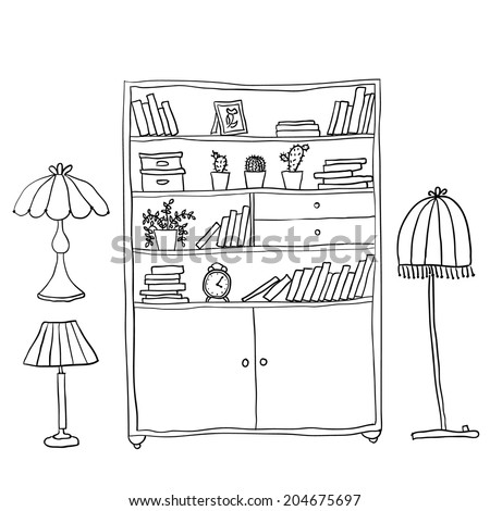 Shelf and lamps - Set of design elements - stock vector