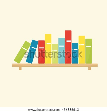 Shelf with books - stock vector
