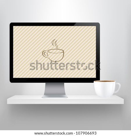 Shelf With Computer And Cup Of Coffee, Vector Illustration - stock vector