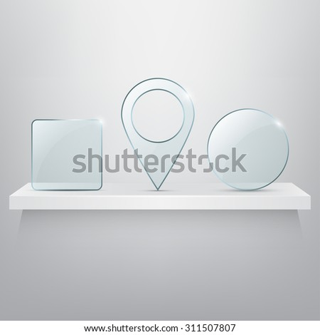 Shelf with glass icons. Vector illustration - stock vector
