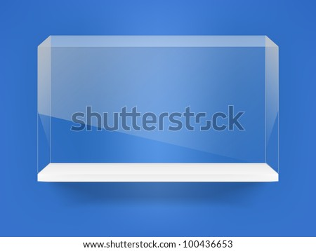 Shelf with glass showcase on blue wall - stock vector