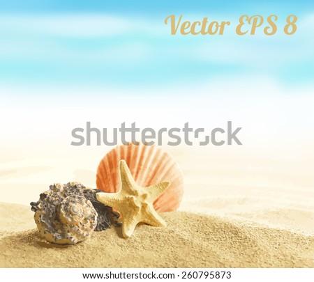 Shell and starfish on sandy beach vector illustration EPS 8. - stock vector