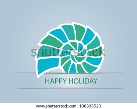 shell on blue background, vector illustration - stock vector
