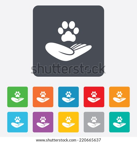 Shelter pets sign icon. Hand holds paw symbol. Animal protection. Rounded squares 11 buttons. Vector - stock vector