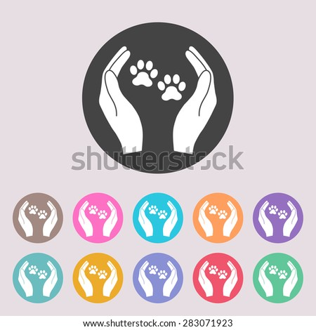 Shelter pets sign icon. Hands holds paw symbol. Animal protection. Set of colored icons. - stock vector