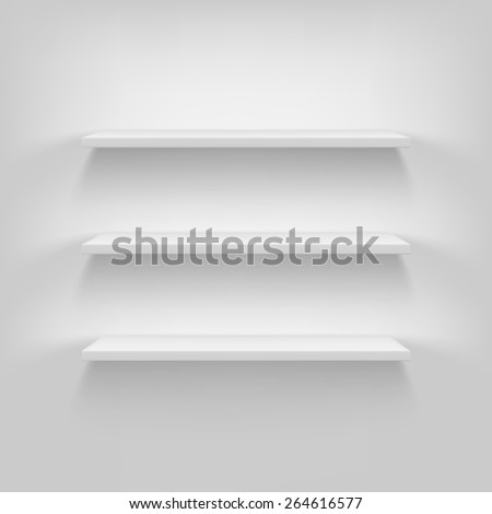 Shelves attached to the wall. Vector, white background, eps10 - stock vector