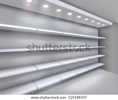 Shelves in shop. Vector illustration. - stock vector