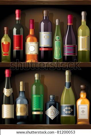 Shelves with alcohol - stock vector