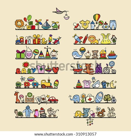 Shelves with baby icons for your design. Vector illustration - stock vector