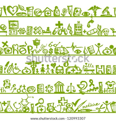 Shelves with medical icons. seamless pattern for your design - stock vector