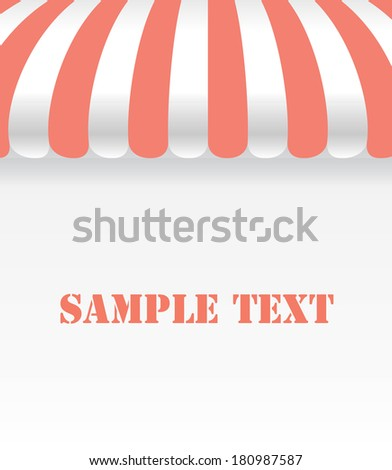 Sherbet and white color on shop awning with space - stock vector