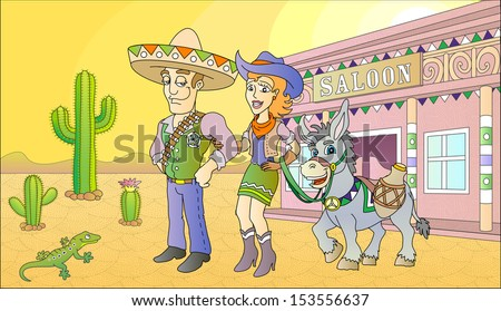 Sheriff and beauty lady standing near the saloon. Vector illustration. - stock vector