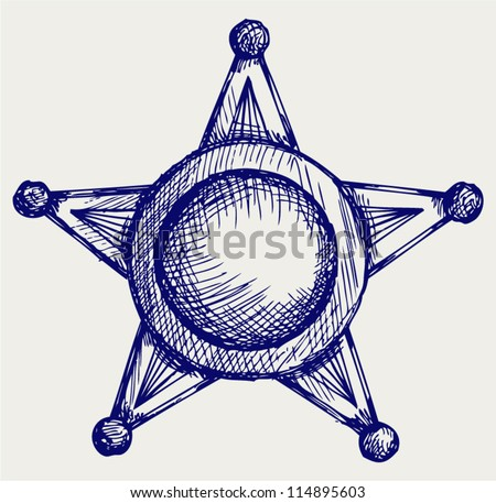 Sheriff badge. Doodle style - stock vector