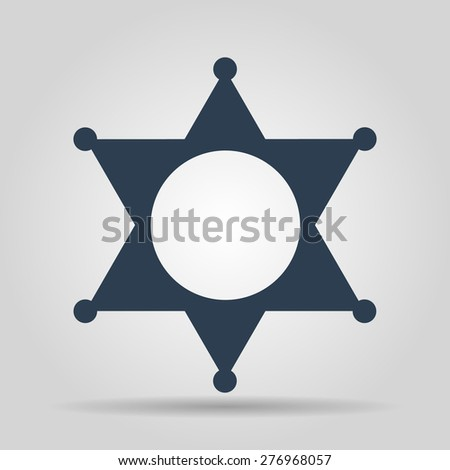 Sheriff star. Flat web icon or sign isolated on grey background.  - stock vector
