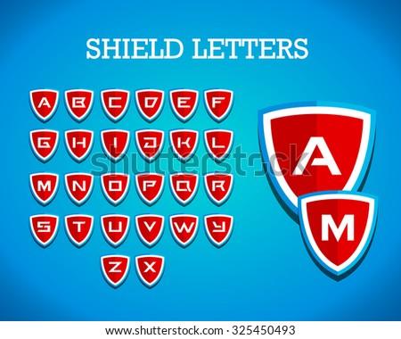 Shield alphabet letters Branding Identity Corporate vector logo design template, emblem, crest, badge, t shirt design. Vector illustration. - stock vector