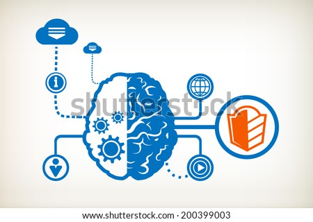 Shield and abstract human brain, the concept of the information movement  - stock vector