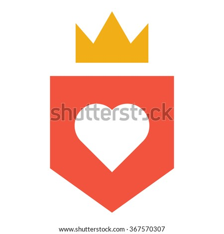 Shield and crown and heart flat vector design red and yellow icon on white background - stock vector