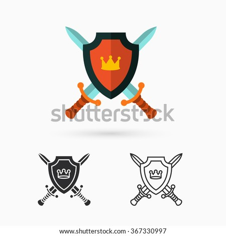 Shield and swords - stock vector